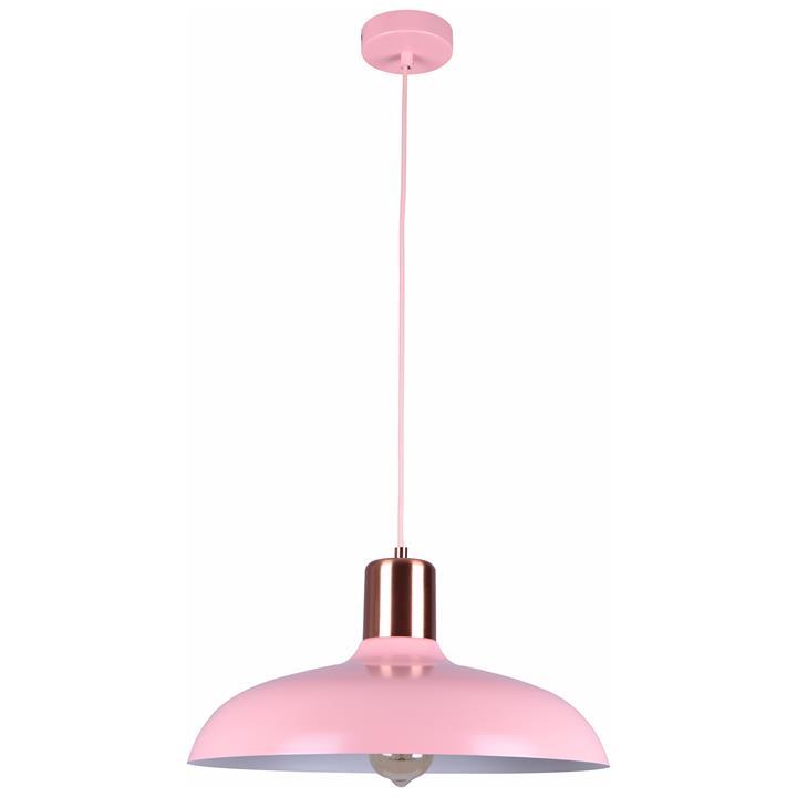 Pastel Iron Pendant Light, Flat Dome, Matt Pink