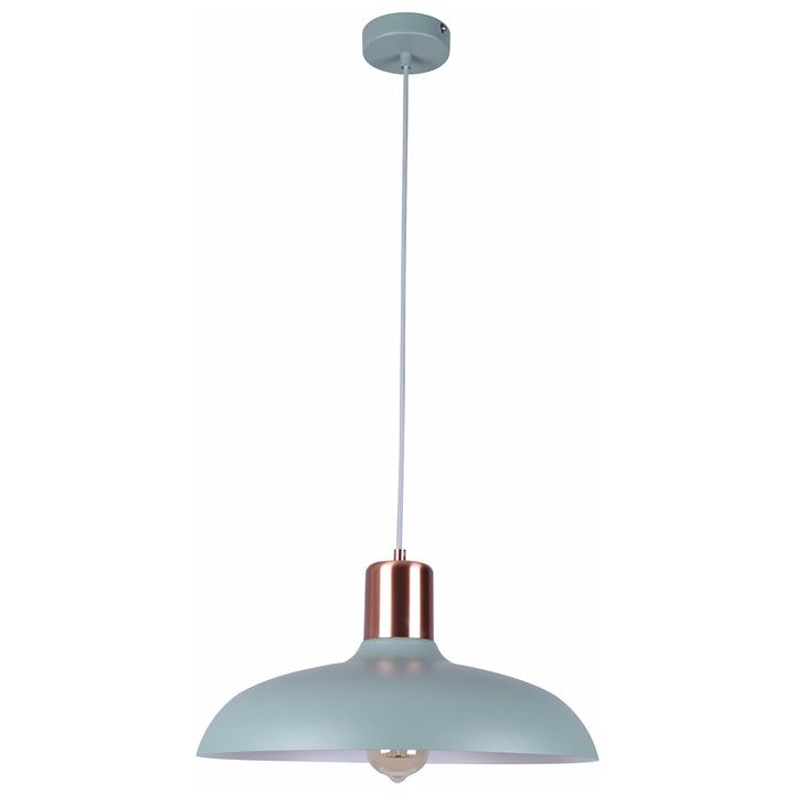 Pastel Iron Pendant Light, Flat Dome, Matt Green