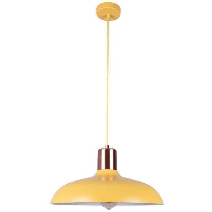 Pastel Iron Pendant Light, Flat Dome, Matt Yellow