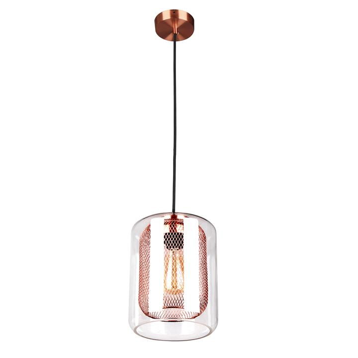 Tono Glass & Iron Mesh Pendant Light, Copper