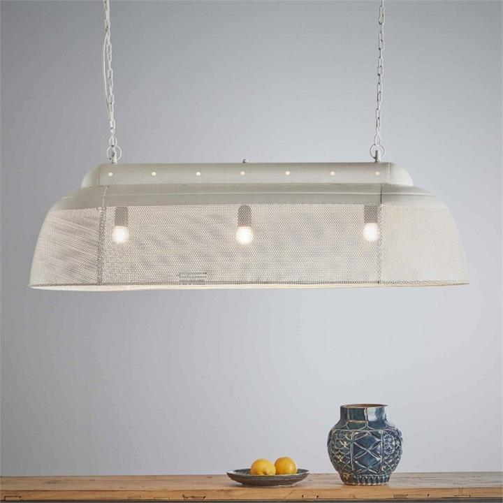 Riva Perforated Iron Elongated Pendant Light, Small, Matt White