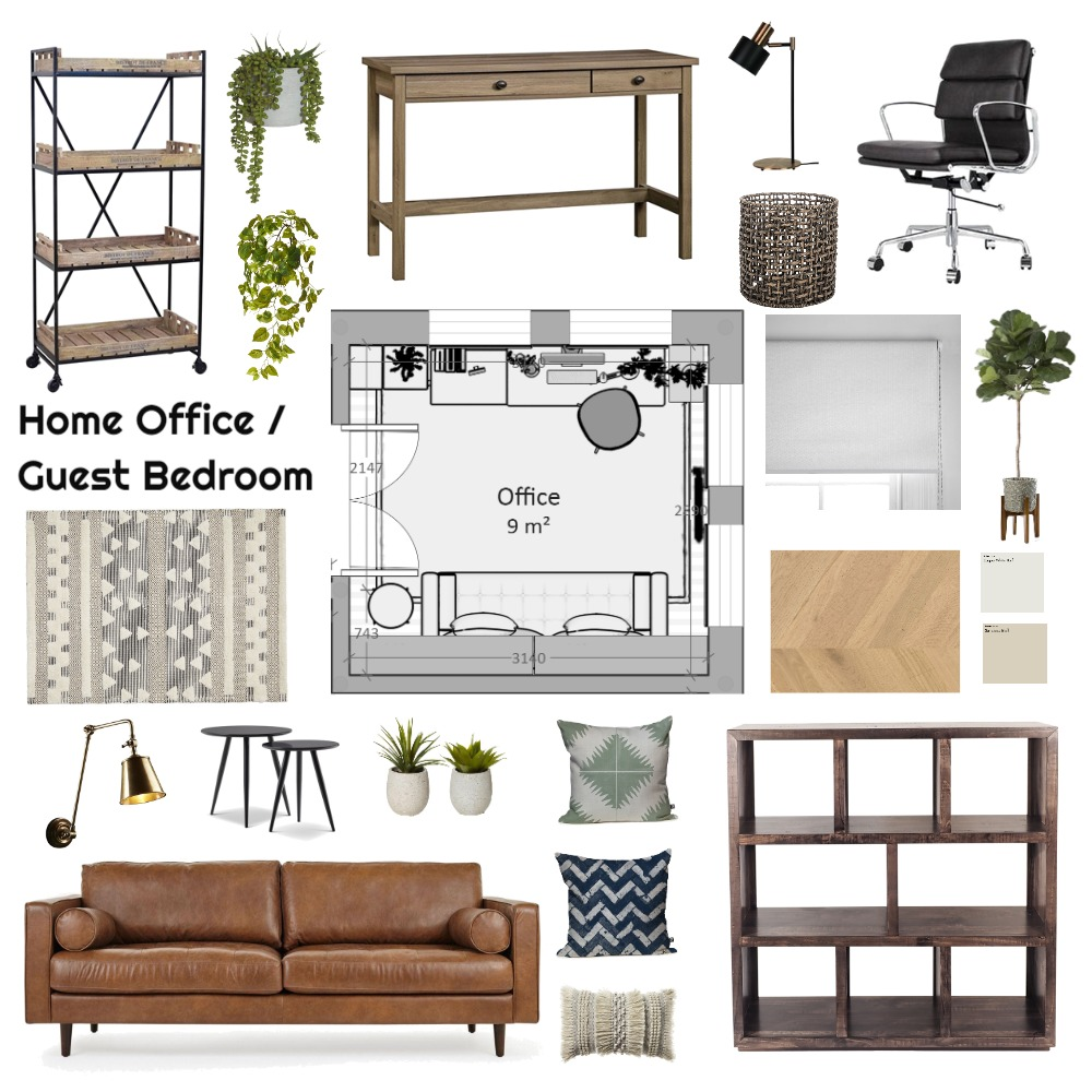 farmhouse home office / guest bedroom Interior Design Mood Board by Cinnamon Space Designs on Style Sourcebook