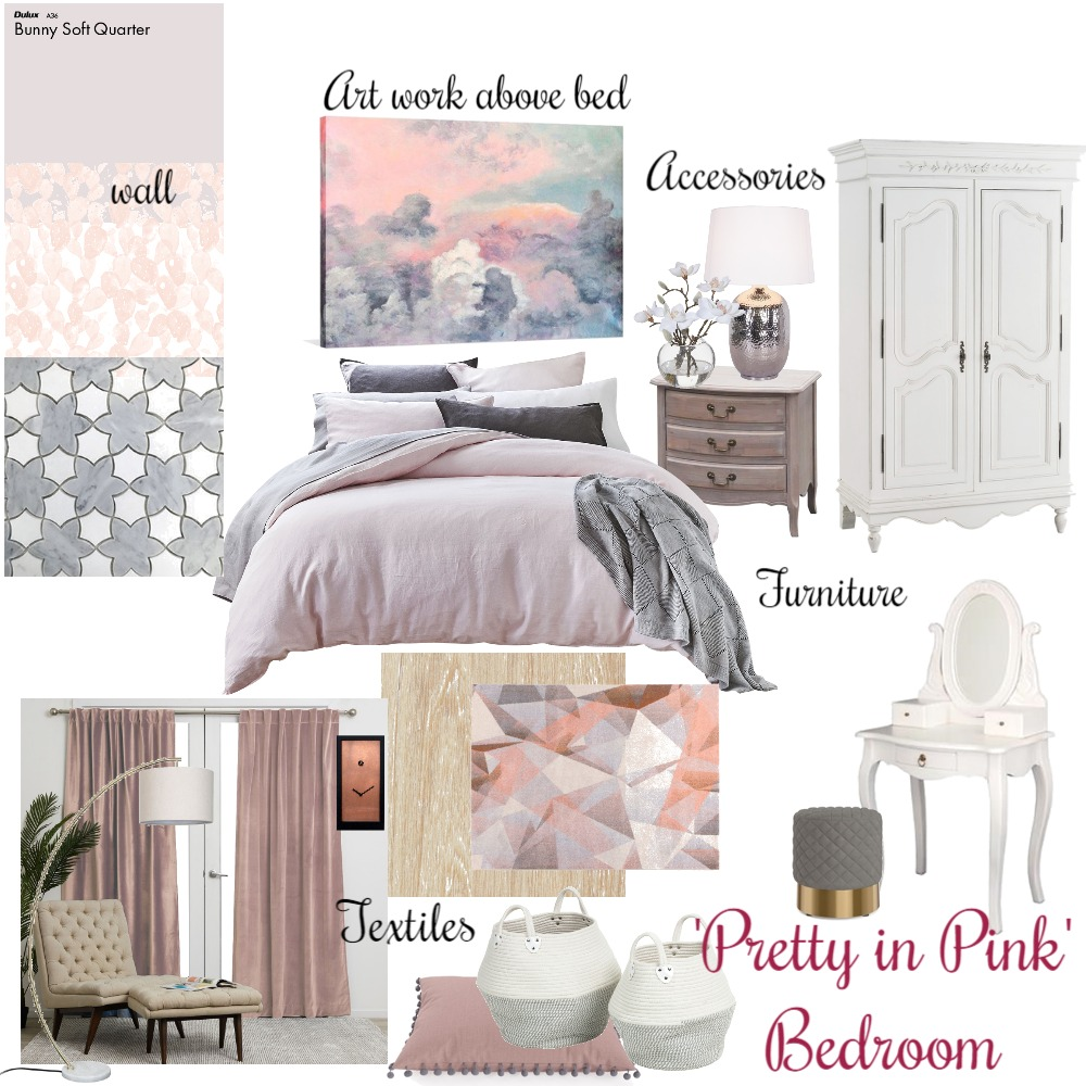 Bedroom- 'Pretty in Pink' Interior Design Mood Board by Asha_Designs on Style Sourcebook