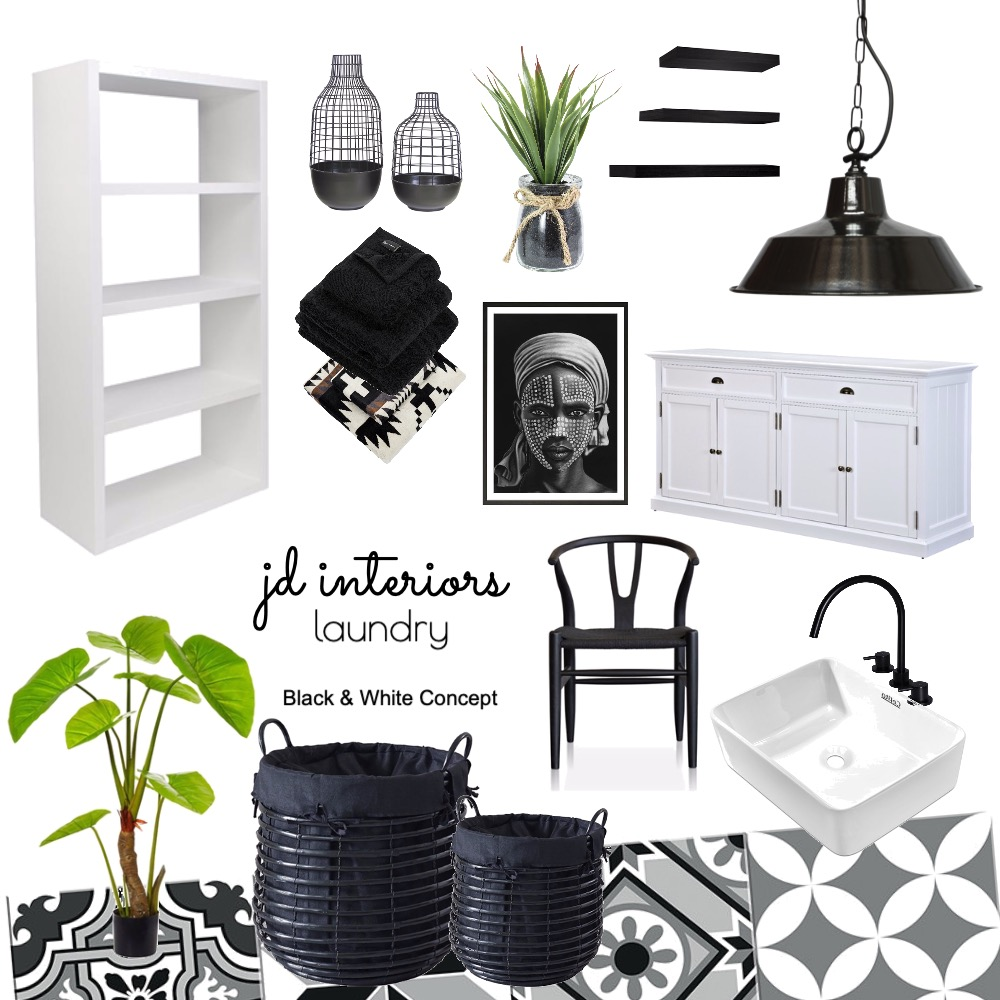 Laundry Room (Black and White Concept) Interior Design Mood Board by jenickadeloeste on Style Sourcebook