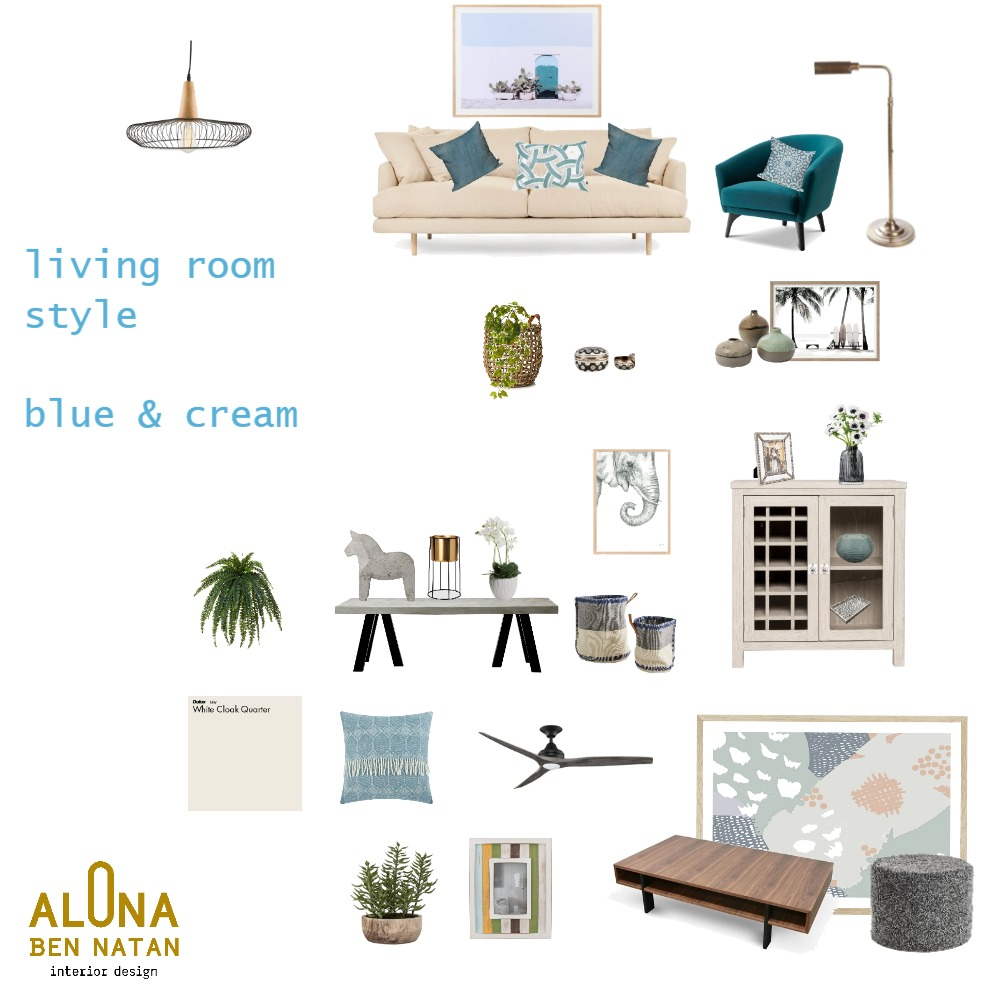 living room blue and cream Interior Design Mood Board by Alona on Style Sourcebook