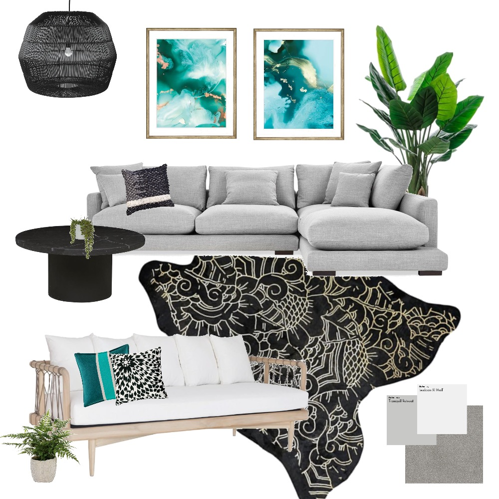 Teal Lounge Room Interior Design Mood Board by Melhawley on Style Sourcebook