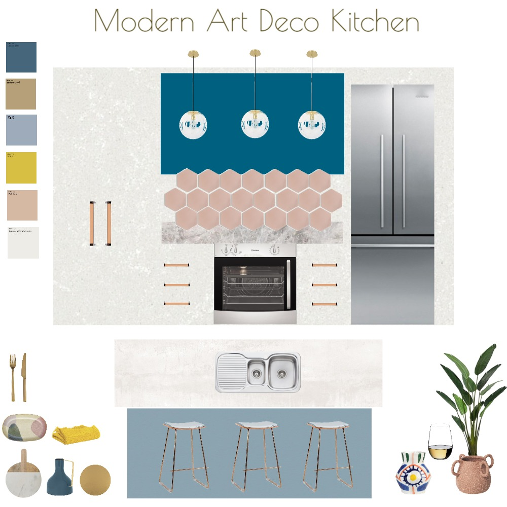 Our Modern Art Deco Reno - Kitchen Interior Design Mood Board by JoannaLee on Style Sourcebook
