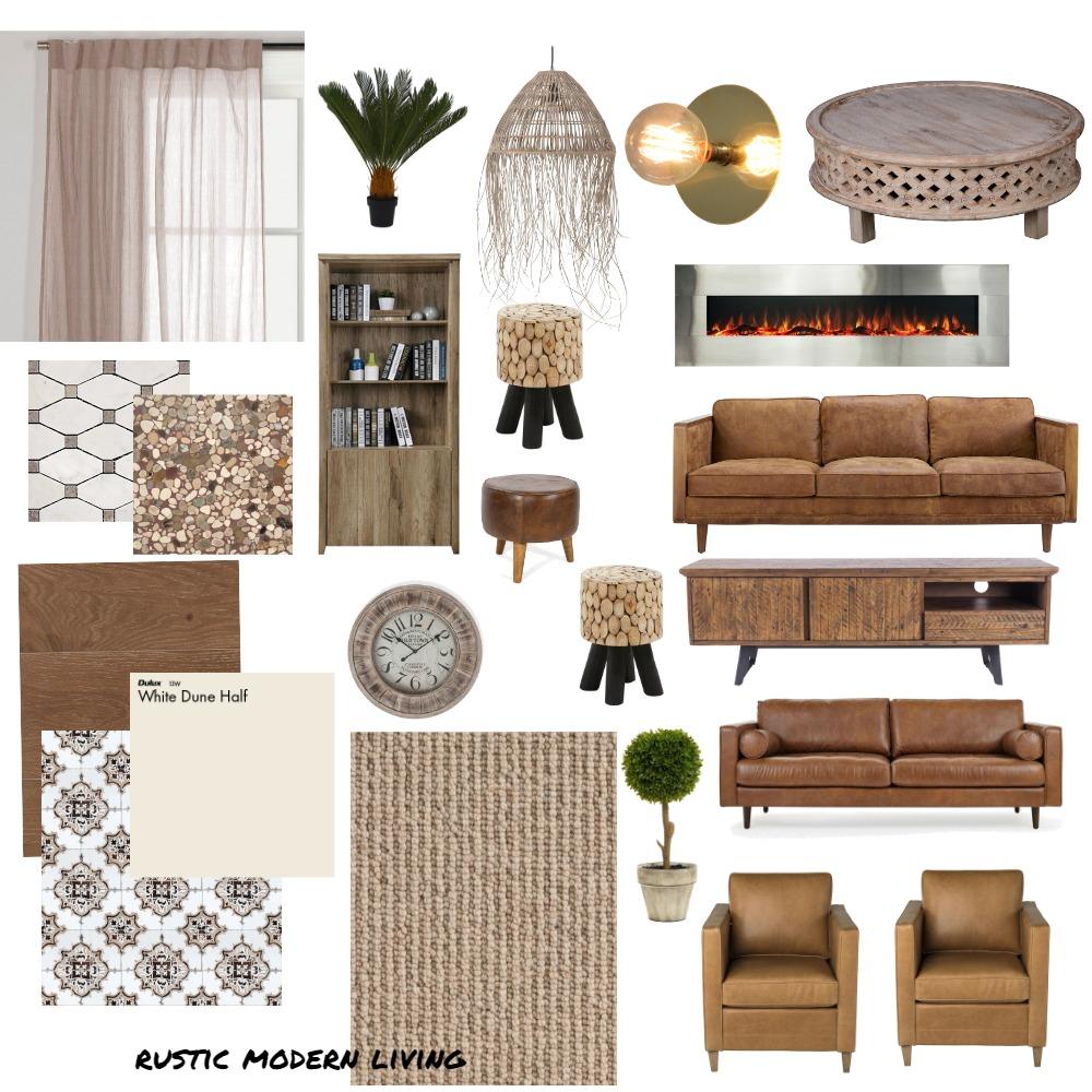 MODERN RUSTIC LIVING ROOM Interior Design Mood Board by Telvin on Style Sourcebook