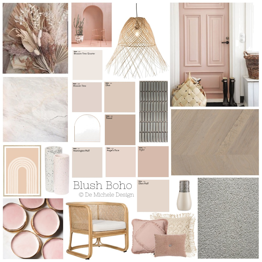 Blush Boho Interior Design Mood Board by edemichele on Style Sourcebook
