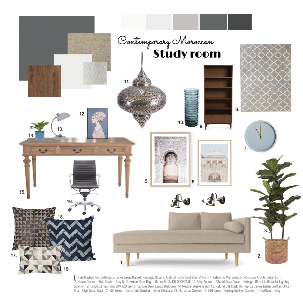 Study room Interior Design Mood Board by AlyaSiDesign on Style Sourcebook