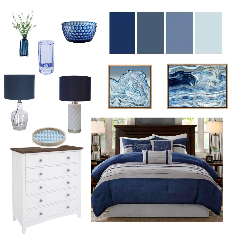 Blue Master Bedroom Interior Design Mood Board by styleyournest on Style Sourcebook