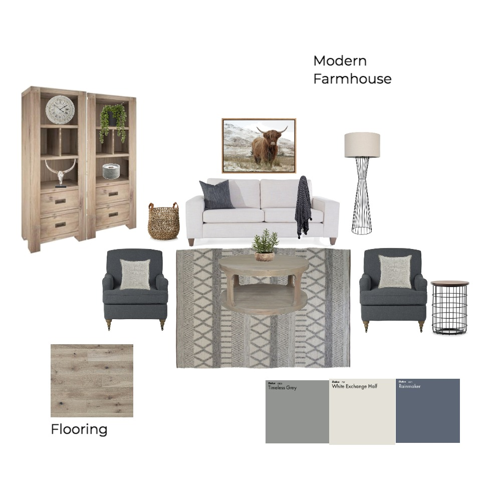 Modern Farmhouse Interior Design Mood Board by eduffy on Style Sourcebook
