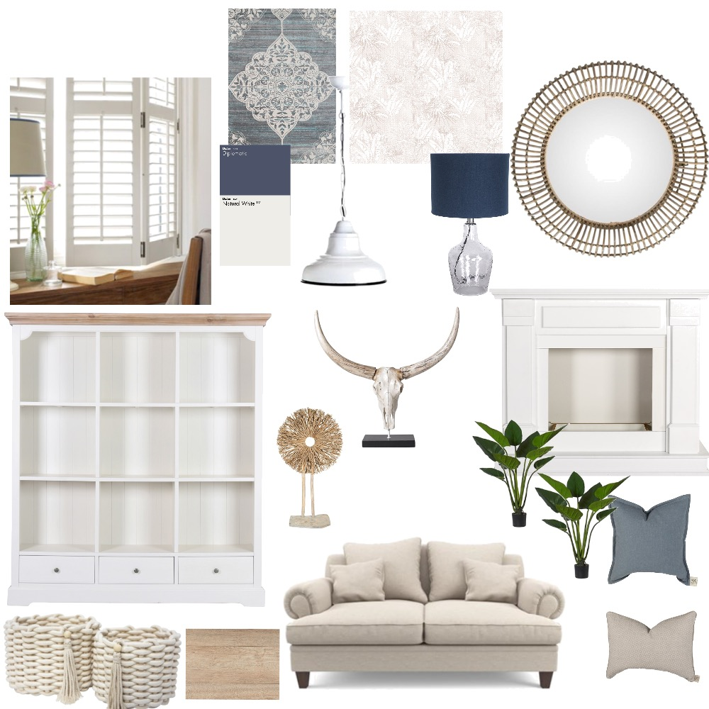 Hamptons Country Living Room Interior Design Mood Board by InteriorsBySophie on Style Sourcebook