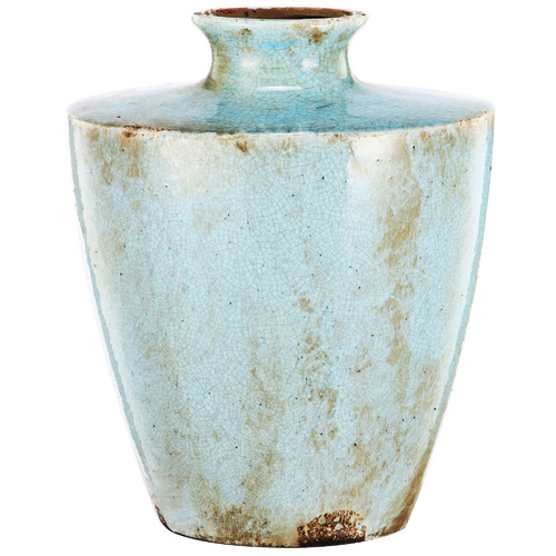 Distressed Turquoise Albretch Ceramic Vase Size: 25 x 14.5 x 21cm by Temple & Webster, a Vases & Jars for sale on Style Sourcebook