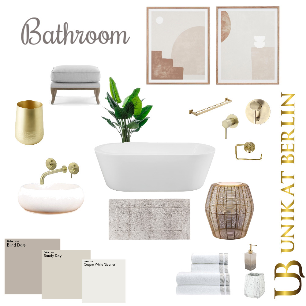 Bathroom gold Interior Design Mood Board by Nikola on Style Sourcebook