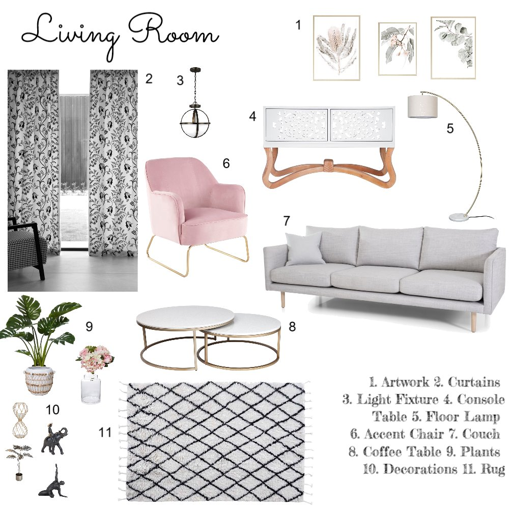 Living Room Module 9 Interior Design Mood Board by celesteseaman on Style Sourcebook