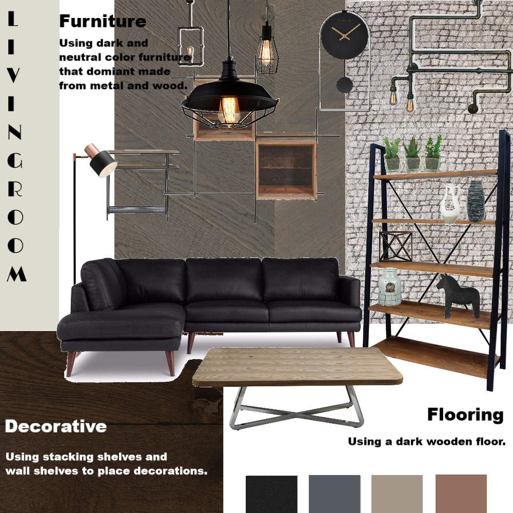 Industrial Living Room Interior Design Mood Board by Gifa Putri on Style Sourcebook