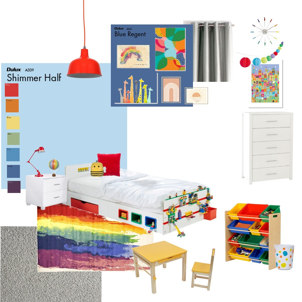 Kids Rainbow Bedroom Interior Design Mood Board by e.maynard97 on Style Sourcebook