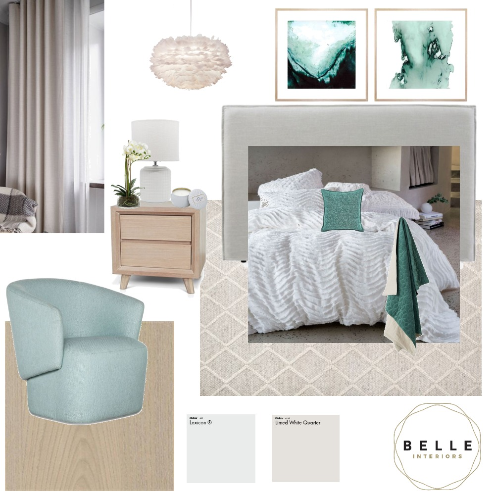 Master bedroom Interior Design Mood Board by Belle Interiors on Style Sourcebook