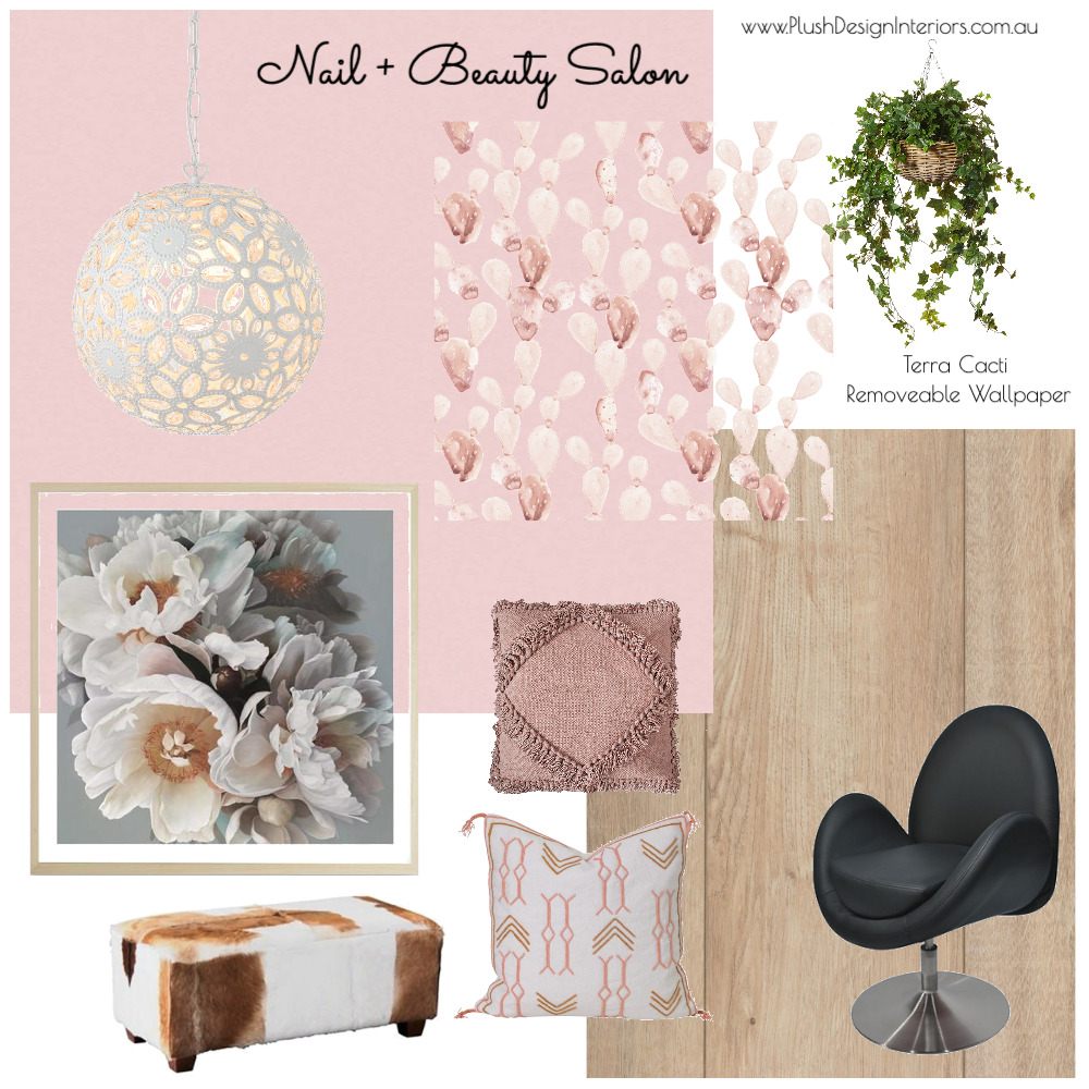 Beautilicious Nail + Beauty Salon 'BoHo' Interior Design Mood Board by Plush Design Interiors on Style Sourcebook