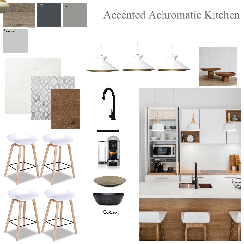Accented achromatic kitchen Interior Design Mood Board by Hayloul79 on Style Sourcebook