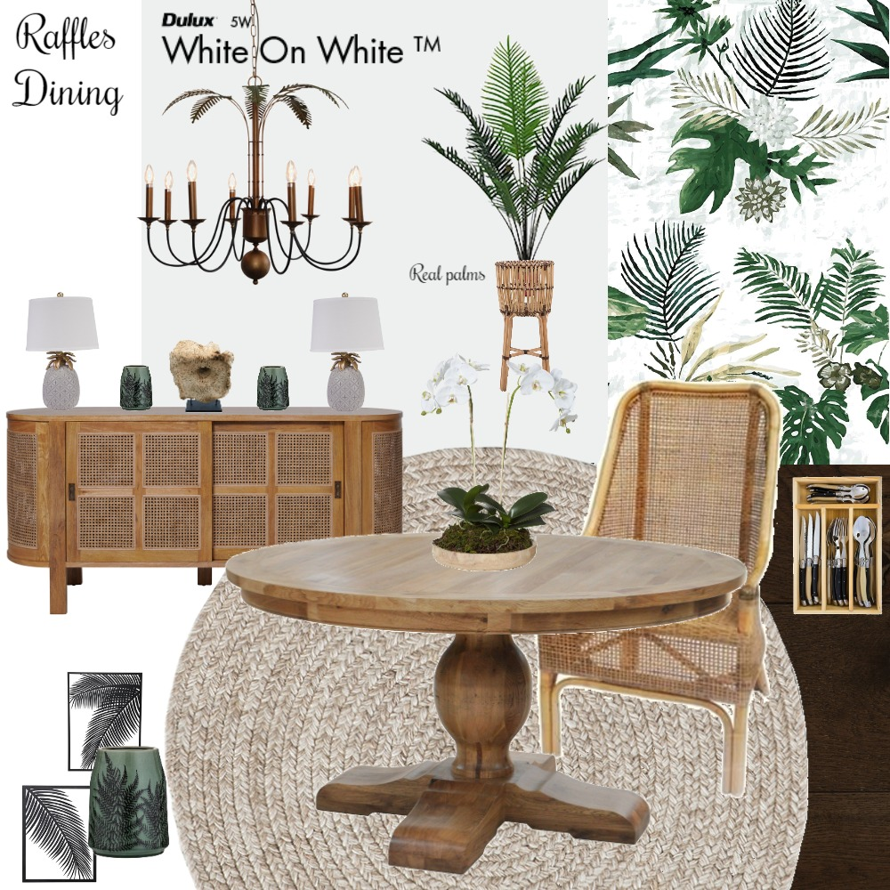 Raffles Inspired Dining Interior Design Mood Board by Jo Laidlow on Style Sourcebook