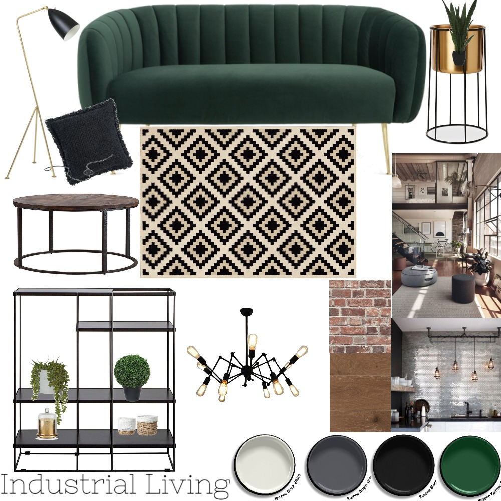 Industrial Living Moodboard Interior Design Mood Board by HannahRose Creative on Style Sourcebook