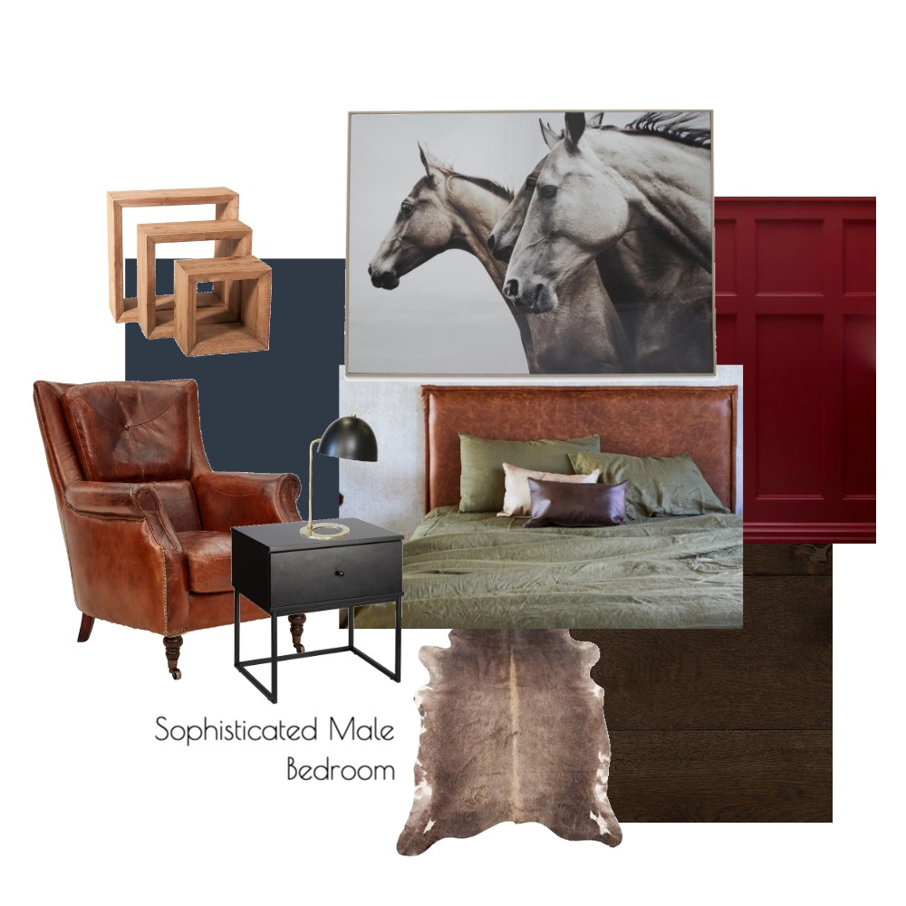 Masculine Bedroom Interior Design Mood Board by Georgie Ayers on Style Sourcebook