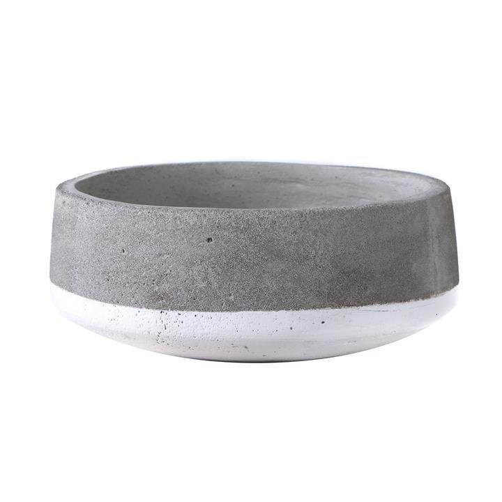 Alanis Commercial Grade Concrete Bowl Planter, Grey / White