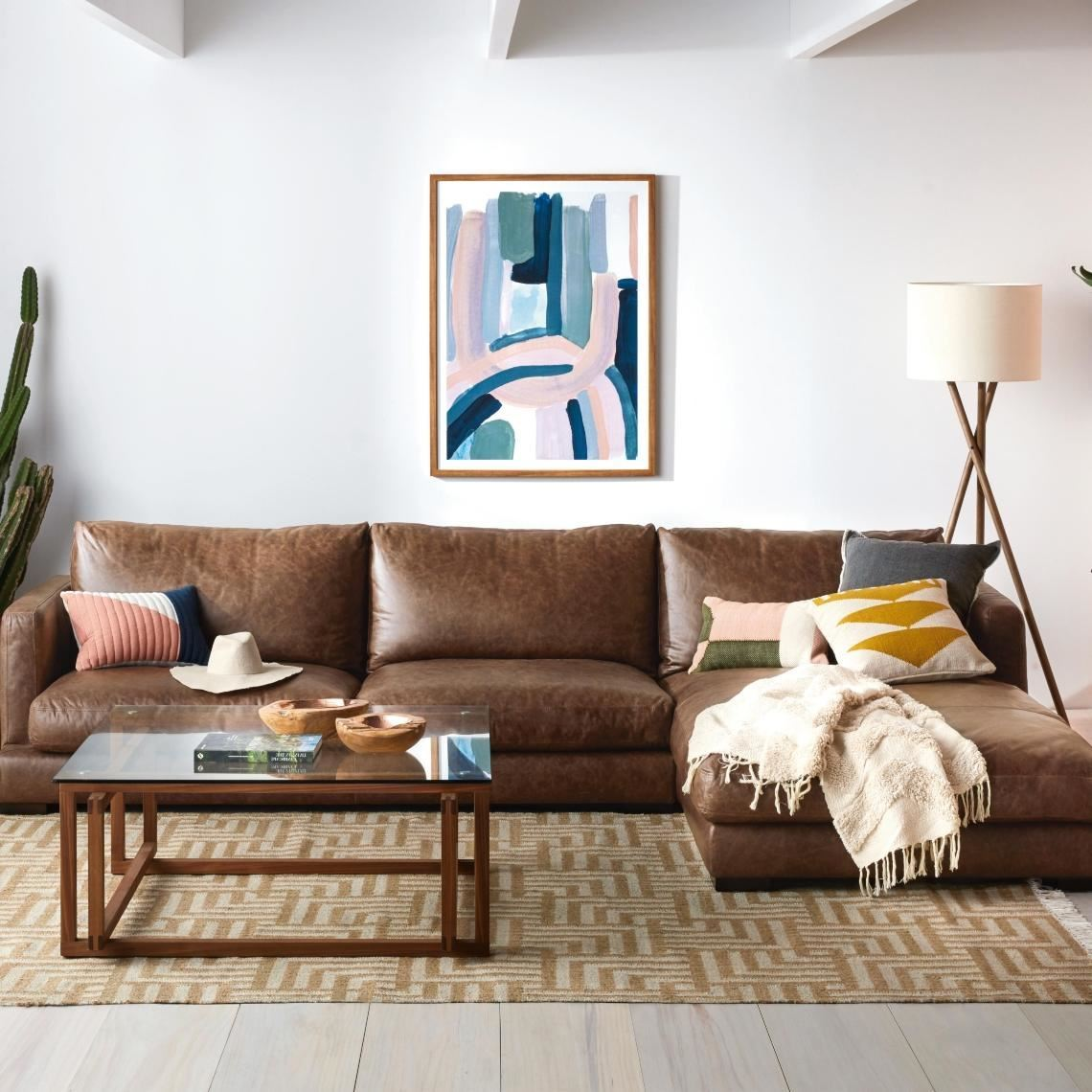 Hamilton 3 Seat Leather Modular Sofa W Right Chaise Size W 330cm X D 211cm X H 86cm In Caramel Leather Foam Fibre Freedom By Freedom Style Sourcebook