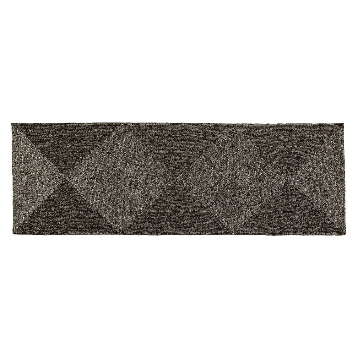 Auden Table Runner, Grey / Metallic Size W 35cm x D 105cm x H 1cm in Grey/Metallic Freedom