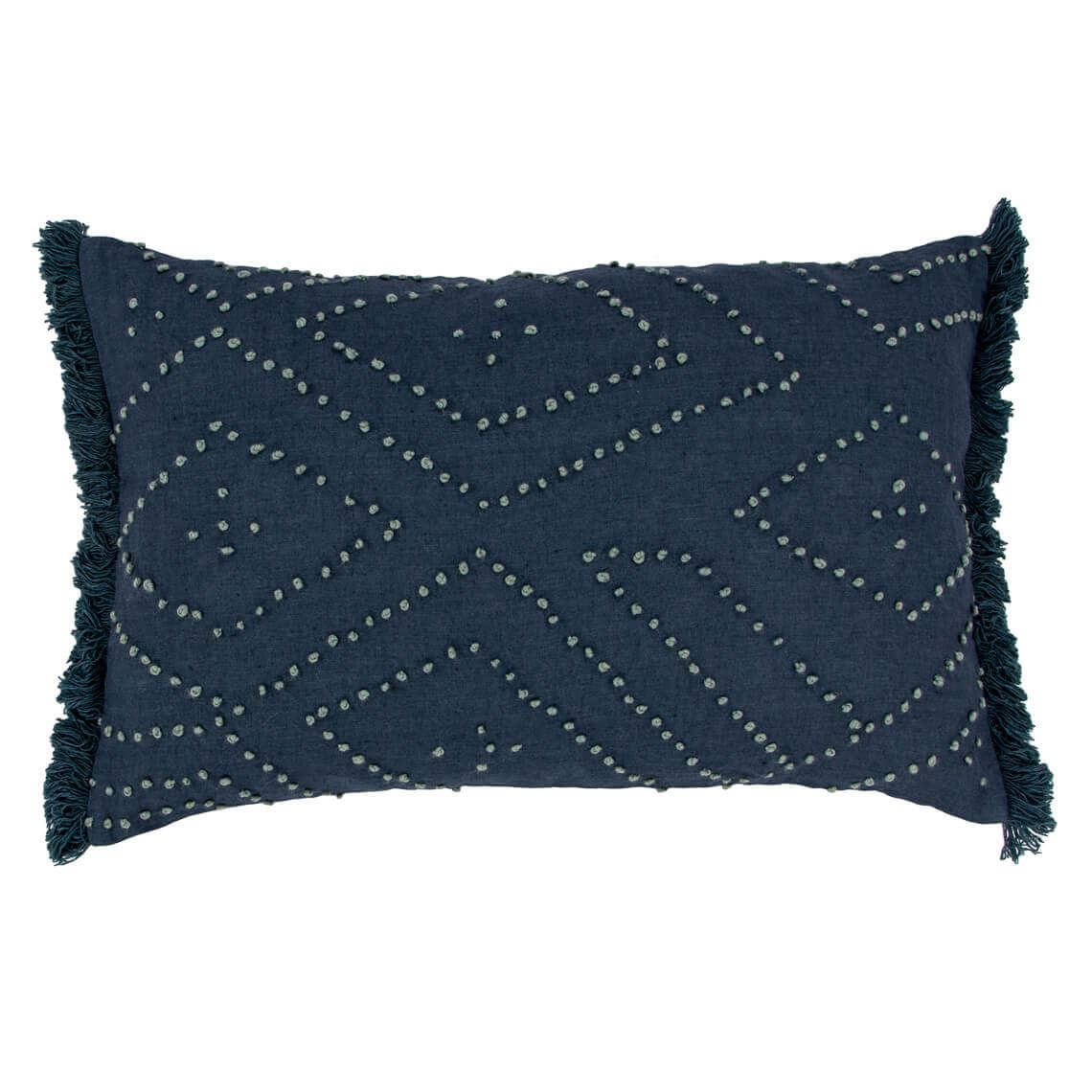 Lenzo Cushion, Navy Size W 35cm x D 55cm x H 14cm in Navy Blue 50%cotton/50%linen Freedom