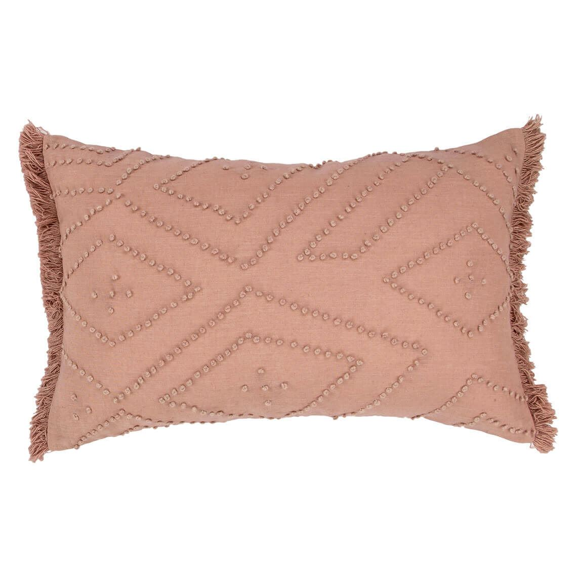 Lenzo Cushion Size W 35cm x D 55cm x H 14cm in Blush 50%cotton/50%linen Freedom