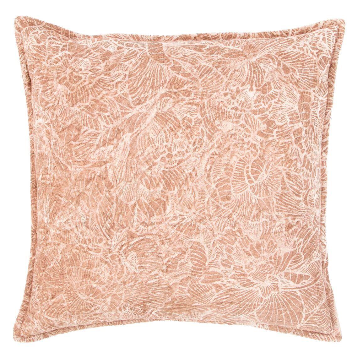 Zando Cushion Size W 50cm x D 50cm x H 14cm in Blush 50%viscose Velvet/50%cotton Freedom