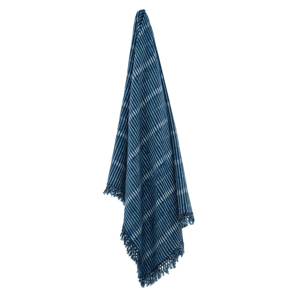 Shiho Throw Size W 34cm x D 34cm x H 8cm in Indigo 100% Cotton Freedom