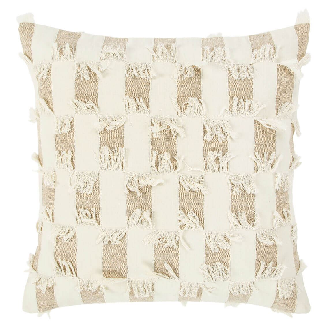 Philly Cushion Size W 50cm x D 50cm x H 14cm in Ivory 75% Cotton/25% Jute Freedom