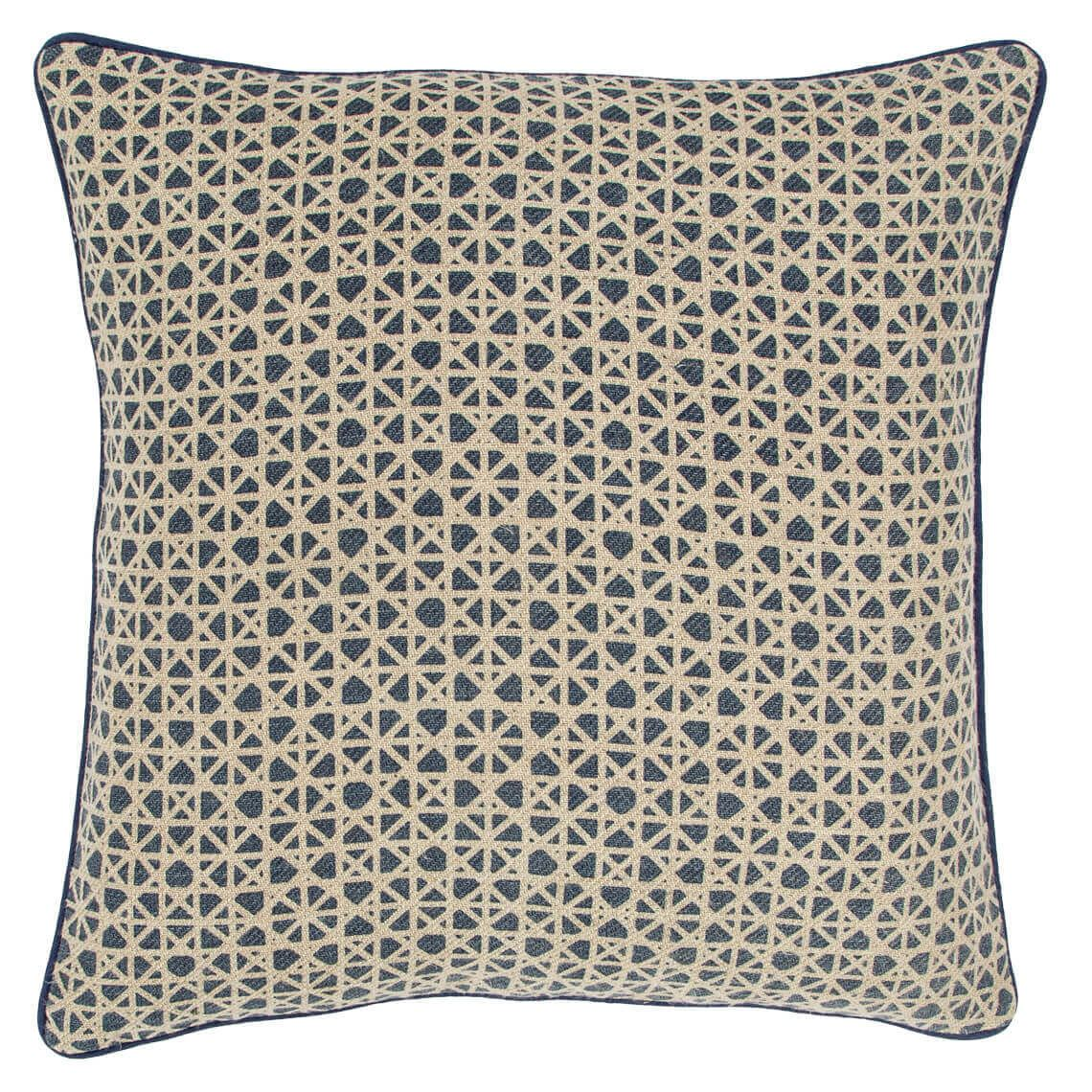 Zanta Cushion Size W 50cm x D 50cm x H 14cm in Indigo 50%cotton/50%linen Freedom