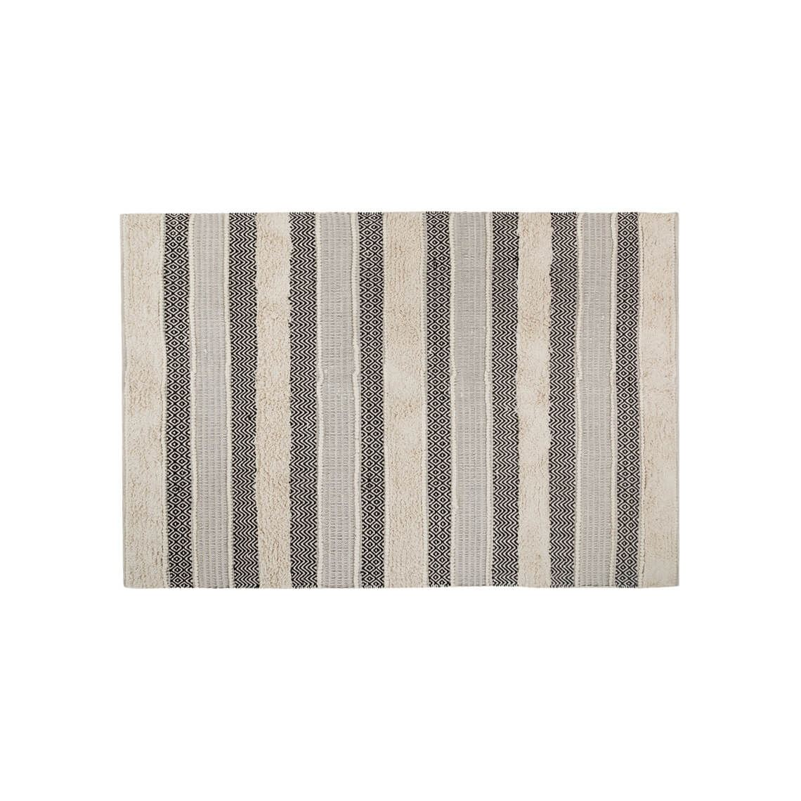 Ligaya Floor Rug Ivory & Black Size W 160cm x D 230cm x H 1cm in Ivory/Black 100% Cotton Freedom