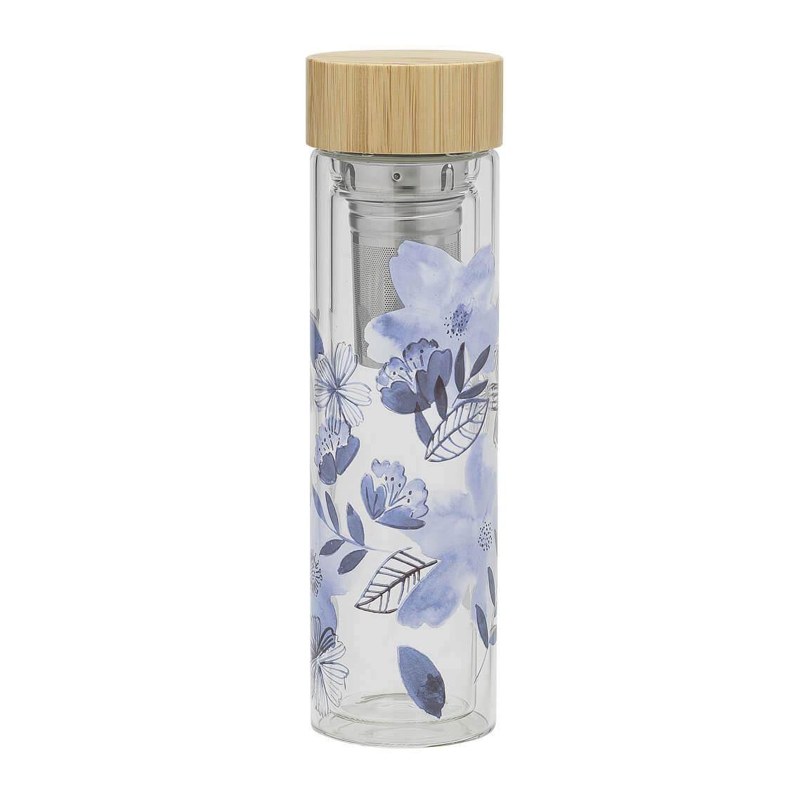 Flora L Tea Diffuser Size W 7cm x D 7cm x H 24cm in Blue Borosilicate Glass/Stainless Steel/Bamboo Lid Freedom