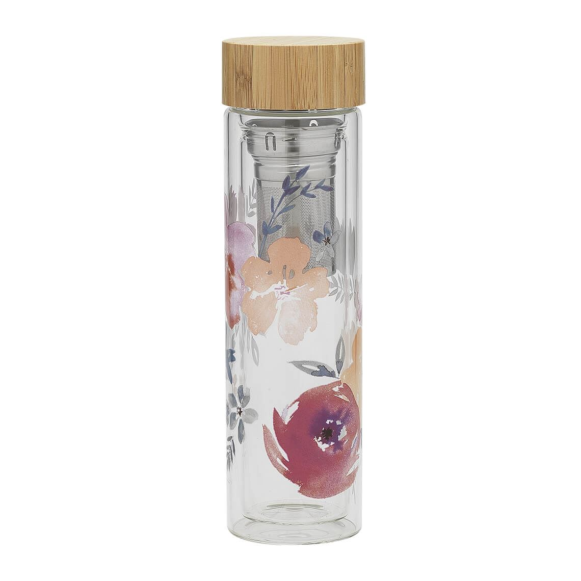 Flora L Tea Diffuser Size W 7cm x D 7cm x H 24cm in Pink Borosilicate Glass/Stainless Steel/Bamboo Lid Freedom
