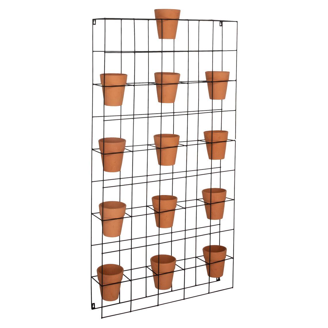 Roseum Wall Planter Size W 83cm x D 15cm x H 153cm in Black Iron/Ceramic Freedom