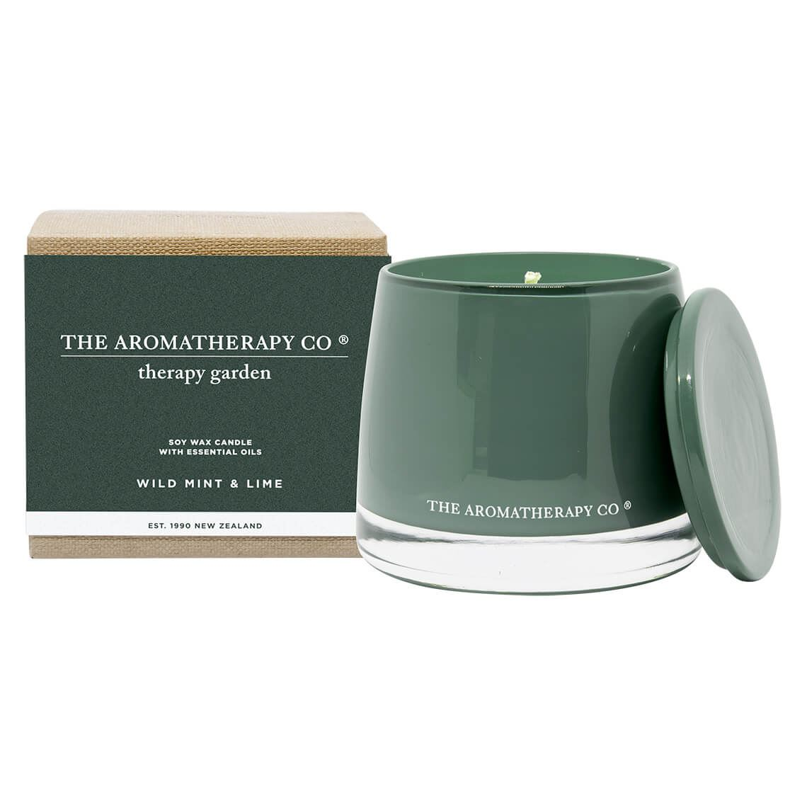 Therapy Garden Candle Wild Mint And Lime Size W 11cm x D 11cm x H 10cm in Wild Mint/Lime Freedom