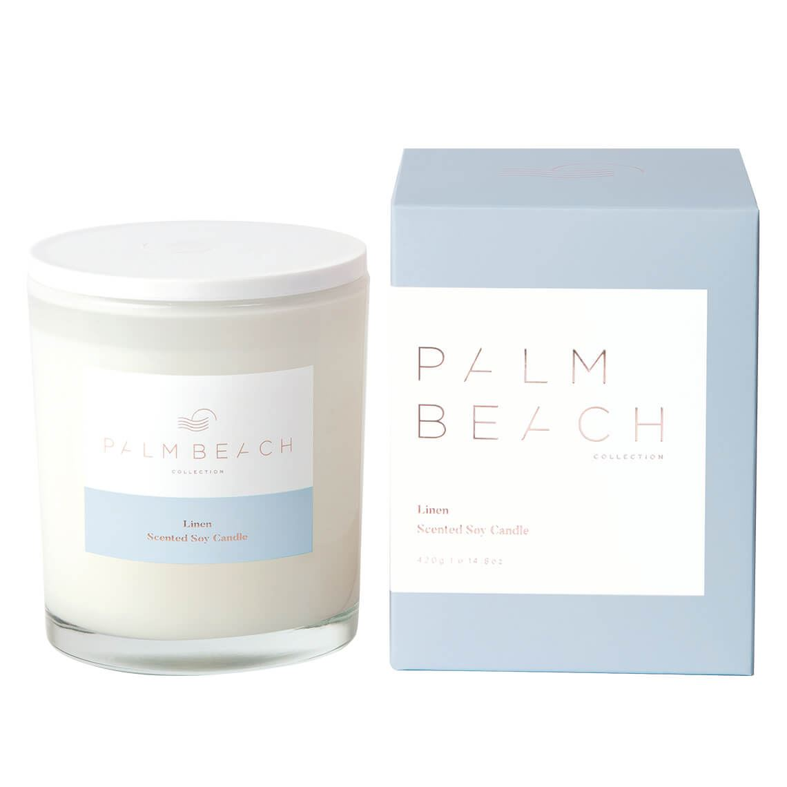 Palm Beachcollection Candle Size W 10cm x D 10cm x H 14cm in Linen Freedom