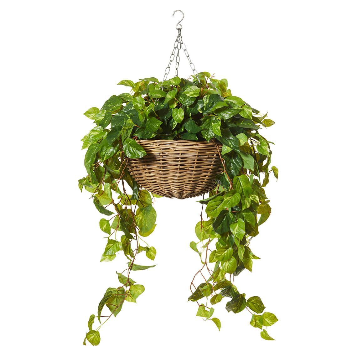 Rattan Hanging Bowl And Artificial Plant Size W 60cm x D 60cm x H 110cm in Green Plastic/Wood Freedom