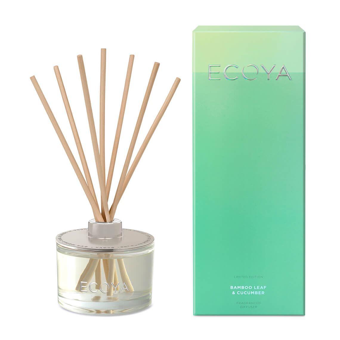 Ecoya Reed Diffuser Bamboo Leaf & Cucumber Size W 10cm x D 10cm x H 26cm in Bamboo Leaf/Cucumber Freedom
