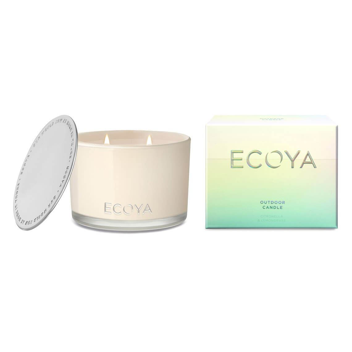 Ecoya Outdoor Candle Citronella & Lemongrass Size W 12cm x D 12cm x H 9cm in Citronella/Lemongrass Freedom