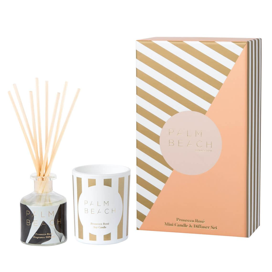 Palm Beachcollection Mini Candle & Diffuser Gift Pack Xmas Linen Size W 12cm x D 7cm x H 20cm in Prosecco Rose Freedom