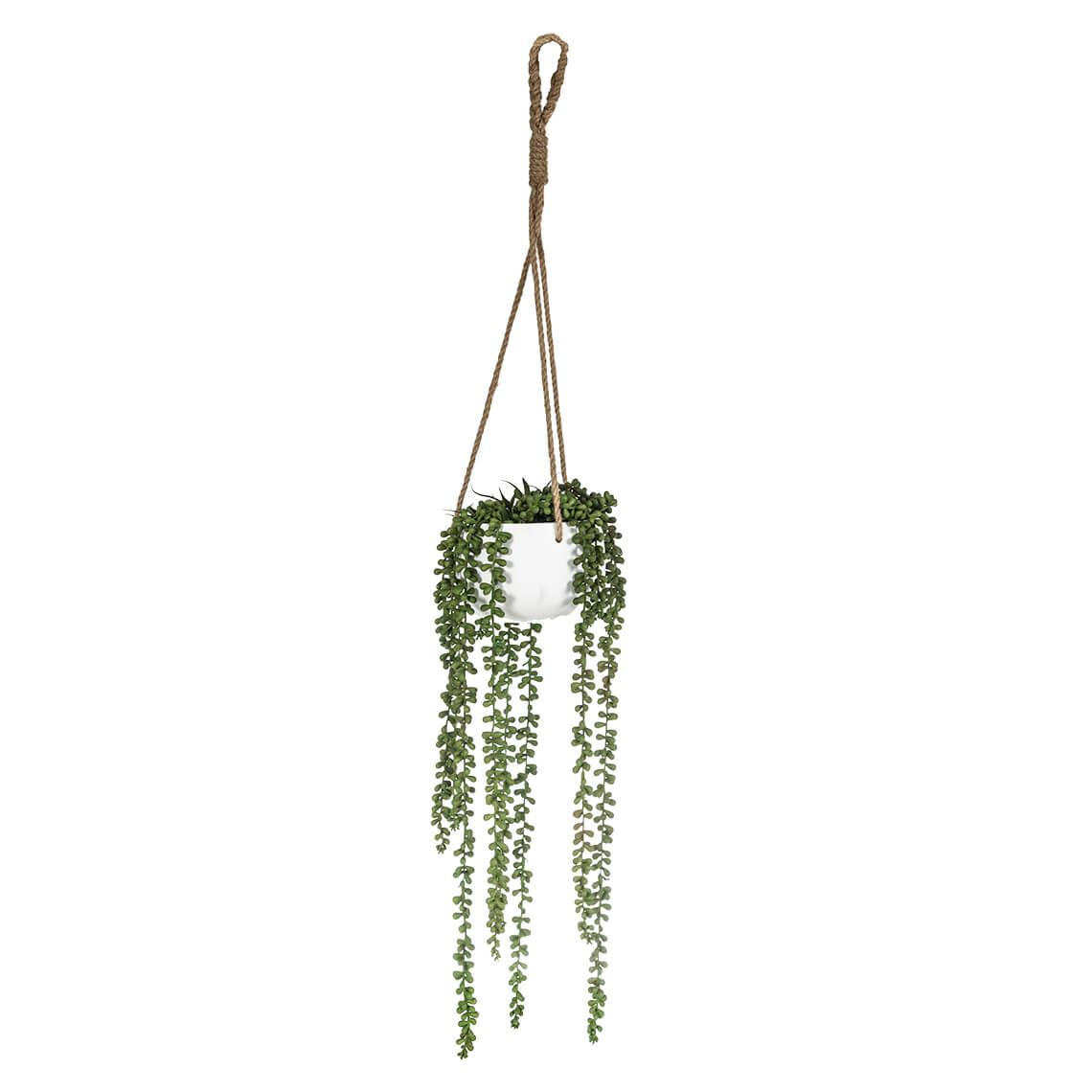 Hanging Pearls Ceramic Planter Size W 18cm x D 18cm x H 104cm in Green Freedom