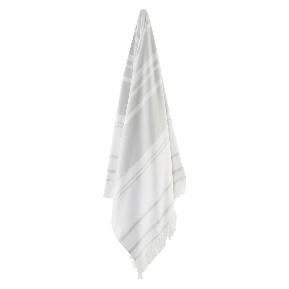 Bellagio Hammam Towel Size W 12cm x D 42cm x H 12cm in Soft Grey Freedom
