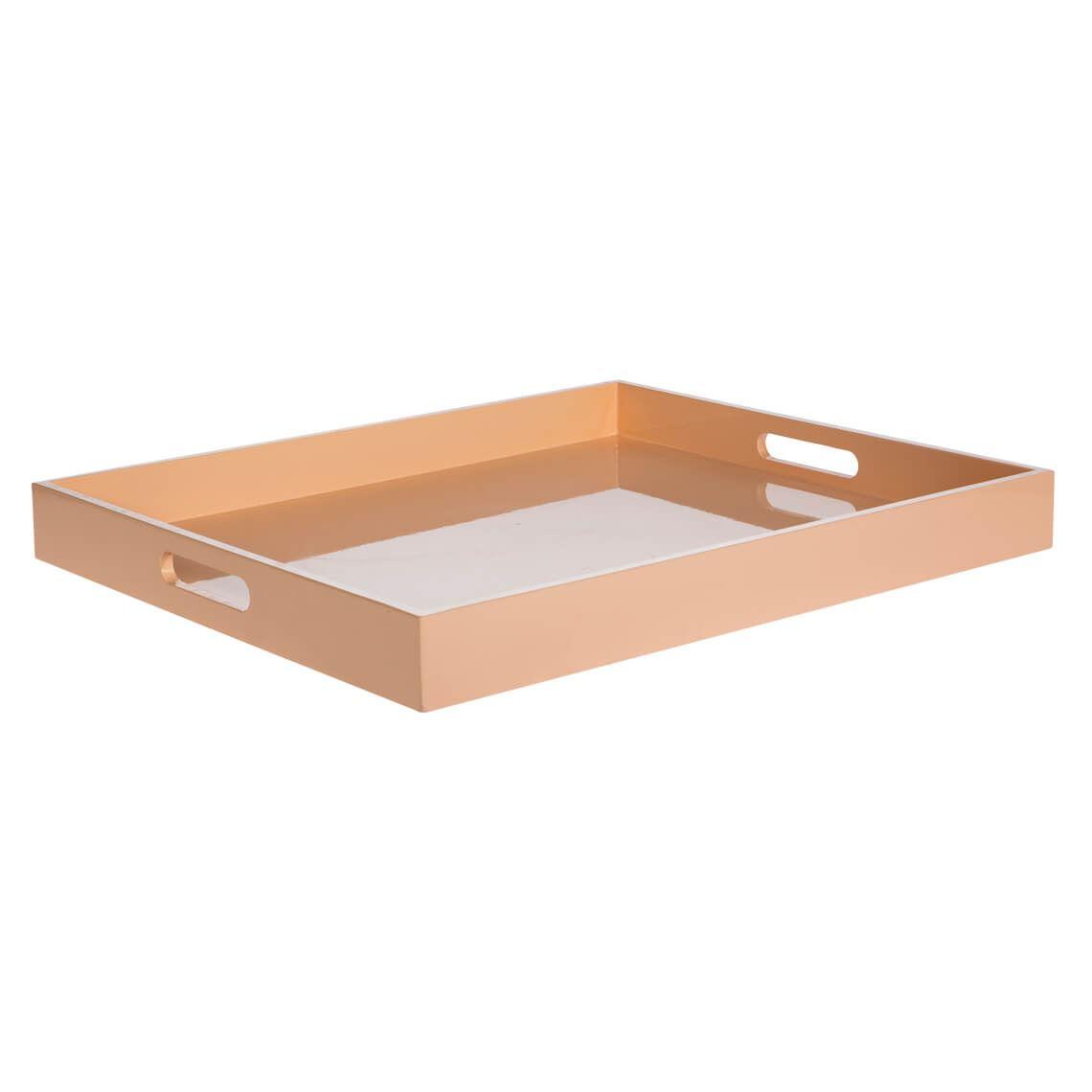 Lacquer Tray Size W 56cm x D 46cm x H 6cm in Peach 95% Mdf/5% Glue Freedom
